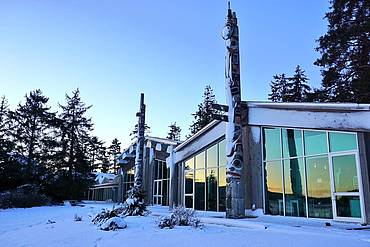 Photo showing Haida Heritage Centre at sunrise. Photo: Ngaio Hotte.
