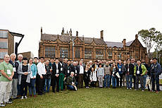 Photo showing Foresters, ecologists and geotechnical engineers united at Sydney University, Australia, to discuss recent advances in research for conserving soil on vegetated slopes. Copyright: Samantha Clarke, University of Sydney
