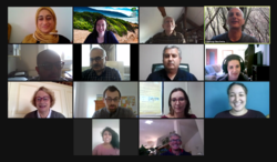 Photo showing screenshot of Zoom meeting, provided by B. Stiti