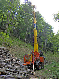 3-4 cables cable yarder, trailer mounted, powered by a 175 kW Diesel engine http://www.valentini-teleferiche.it/Content/BaseContent.aspx?CID=10067 Photo credit Giovanni Giovannini