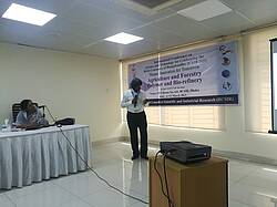 Photo showing Prof Dr. Mubarak Ahmad Khan presented a Keynote speech on Biopolymer for reducing polution at the Birth Centenary of Bangabandhu, 2021. Photo provided by Dr. Md Sarwar Jahan