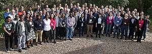 Photo showing Delegates for the IUFRO-supported New Frontiers in Forecasting Forests meeting 2018 posing for a picture outside the conference venue at STIAS on campus of the University of Stellenbosch, South Africa.