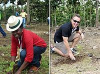 Photo showing World Teak Conference 2015 participants planting teak saplings.