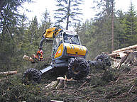 Hybrid (legged-wheeled) harvester, powered by a 104 kW Diesel engine, equipped with a Woody 50 harvester head http://www.menzimuck.com/en/produktegruppe/forst.html