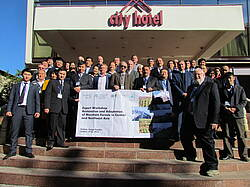 Photo showing participants of Expert Workshop on Restoration and Adaptation of Mountain Forests in Central and Northeast Asia