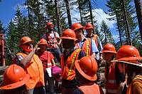 Photo showing The student participants observing cable logging operations in central Oregon.