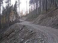 Forest road in the Ukrainian Carpathians (Lviv region) built according to Austrian procedures