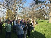 Photo showing participants during the Tree planting during the 2018 WP conference in Christchurch. Photo: Eduardo Cartes Rodriguez.