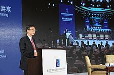 """Photo showing Prof. Liu Shirong, Member of IUFRO Executive Committee, delivered an opening speech at the Forum """"Forest Cities and Green Sharing"""", FFCGS 2018. Photo provided by Liu Shirong."""