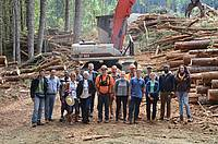 Photo showing Student Conference 2016: The student participants visiting the student logging crew harvesting site at the Oregon State University's McDonald-Dunn Research Forest.
