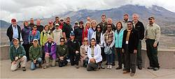Photo showing Joint Forest Communicators Workshop attendees at Mount St. Helens, Washington State, USA. 2016