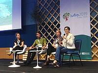 Photo showing XXV IUFRO World Congress: key notes round table, from right to left Prof.  Maria J. Santo, Dr Anne-Maarit Hekkala, Dr Olav Skarpaas, Dr Anne Chuter. Photo: © S. Luque.