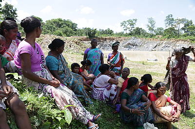 Photo showing Social movement by indigenous women (temporarily) stops mining inside community forest in Odisha, India. Credit: Landing Together Film/Purabi Bose, date 28/08/2016