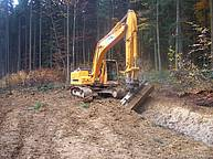Сonstruction of a ditch on a forest road in the Ukrainian Carpathians (Ivano-Frankivsk region)