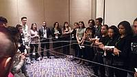 Photo showing Governance training Bogotá 2016: Ice-breaking spider web activity.