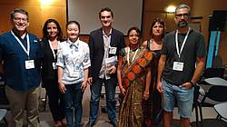 Photo showing Speakers at the ECOSUMMIt 2016 session 72, from left to right: J.C. Alvarado (Costa Rica) and colleague (in the back), J.Y. Ding (P.R. China), J.A. Blanco (Spain, session chair), P.H. Mallick (India), M. González-Sanchíz (Spain), S. Beguería (Spain).