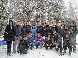 Photo showing Expert Workshop on Restoration and Adaptation of Mountain Forests in Central and Northeast Asia: Scientific study tour in the first snow