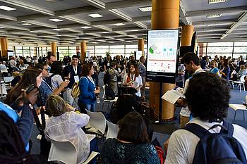Photo showing Scientists at XXV IUFRO World Congress poster session in Curitiba, Brazil. Photo COC.