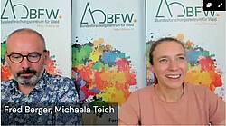Photo showing Fred Berger (8.03.00) and Michaela Teich (8.03.02) during discussion with panel members. Credit: Anne Hormes, BFW.