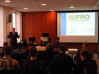 Photo showing IUFRO President Mike Wingfield at the launch of YSI during the IUFRO 125th Anniversary Congress in Freiburg, Germany. Photo: Morn'e Booij Liewes, FABI.