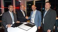 Photo showing Signing of Memorandum of Understanding between IUFRO and EGU, April 2016.