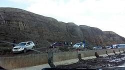 Photo showing Mudflow across the highway, Kyrgyzstan