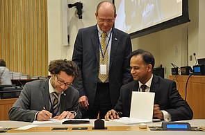 Photo showing the official launch of the GFEP Report on Forests and Food Security