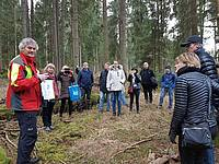 """Photo showing IUFRO Conference """"European Forests – Or Cultural heritage"""", December 2018. Excursion to the forest enterprise Poitschach. Focus: Sustainable forest management including the cultural heritage of and in the forest. Participants with the owner and leader of the excursion Dr. Eckart Senitza, President of Pro-Silva Europe. Photo: Elisabeth Johann"""