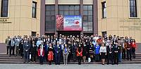 Photo showing The participants at the 12th edition of ICWSE, in front of the assembly hall of Transilvania University of Brasov. Photo: Pro Ligno Brasov.