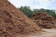 A local sawmill in Southern Thailand stores large amounts of residual wood and woodchips of Hevea brasiliensis (rubber tree) outdoor. A rubber plantation can be seen in the background