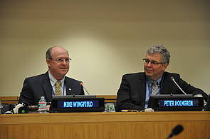 Photo showing IUFRO President M Wingfield and CIFOR's Director General P Holmgren