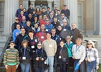 Photo showing Participants of the 2017 Niagara Falls Meeting gathered on the stairs of the mansion at Ruthven Park National Historic Site during the field trip.