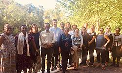 Photo showing Participants of the 1st Expert Panel Meeting by the Huron River in the University of Michigan Nichols Arboretum. Ann Arbor, 2019.