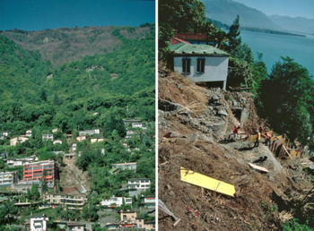 Photo showing Severe debris flow in Ascona, Switzerland, in summer 1997, five months after a forest fire. Photo: Lorenza Re, Forest Service Canton Ticino (Fig. 8 in White Paper)