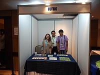 Photo showing IUFRO booth at TF Governance training, Bogotá 2016.
