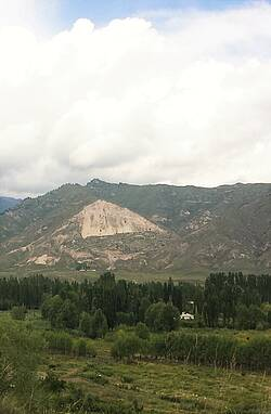 Photo showing a Landslide in the Tien-Shan Mountains, Kyrgyzstan