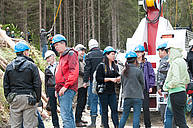 """Vibrant international discussion around the world premiere of the Owren 350 yarder mounted on a rubber-tracked Prinoth Panther. Participants from over 15 countries took part in the field trip IUFRO Conference """"Forest Operations in Mountainous Conditions"""""""